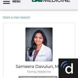 Sameera Davuluri, MD, Family Medicine, Birmingham, AL, University of Alabama Hospital